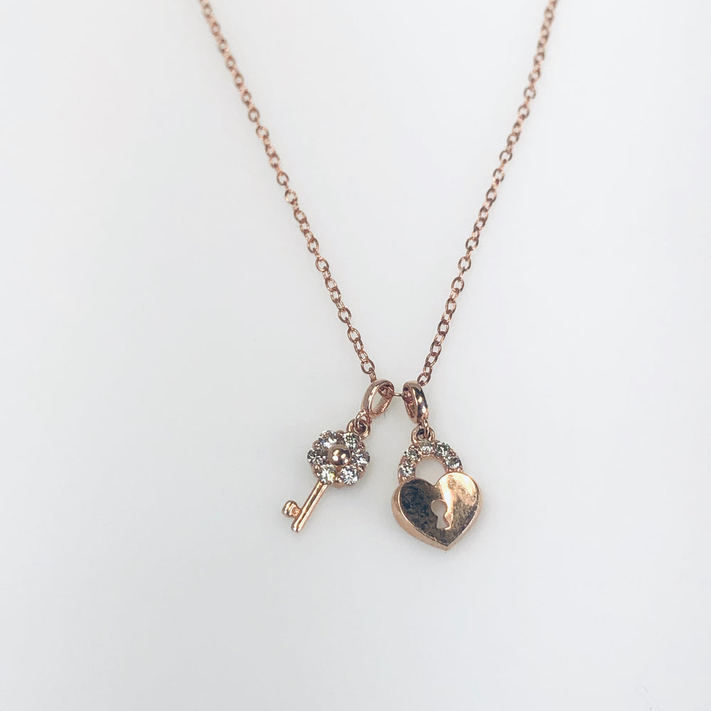 WD609 - Pave Key and Heart Lock necklace