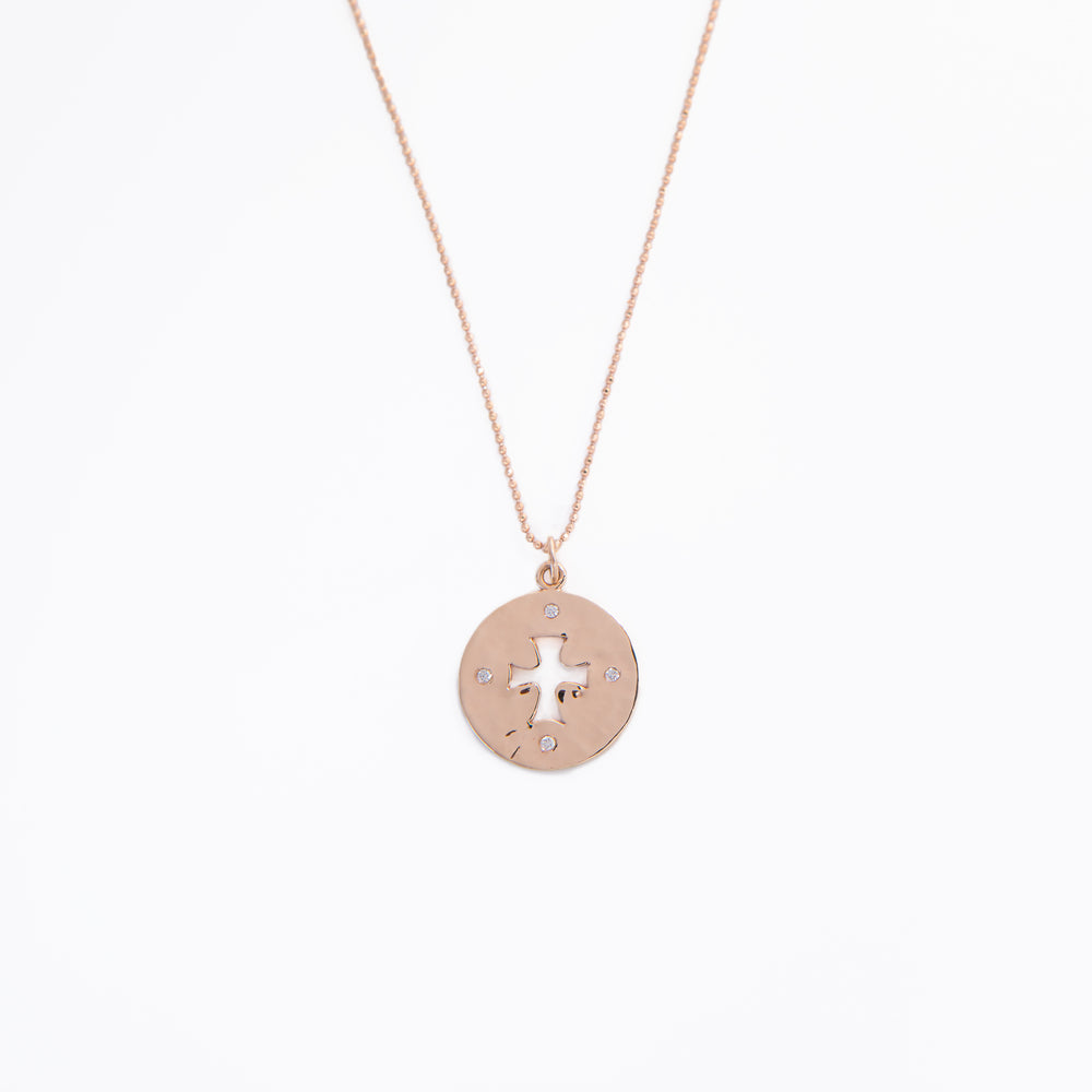 WD287 - Coin Cut Out Cross Necklace