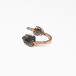 wd495, 14kt Rose gold, total approx 2.20ct Pear shape, Rose cut, Raw diamond with pave diamond on band wrap ring