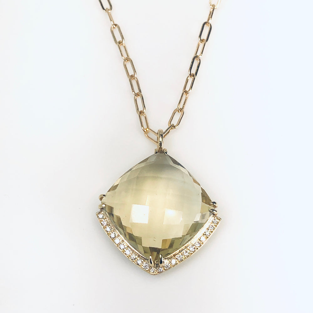 WD587, Smoky Greengold Topaz Necklace