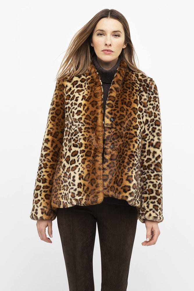LFCP0-024 KINROSS Leopard Faux Fur Coat