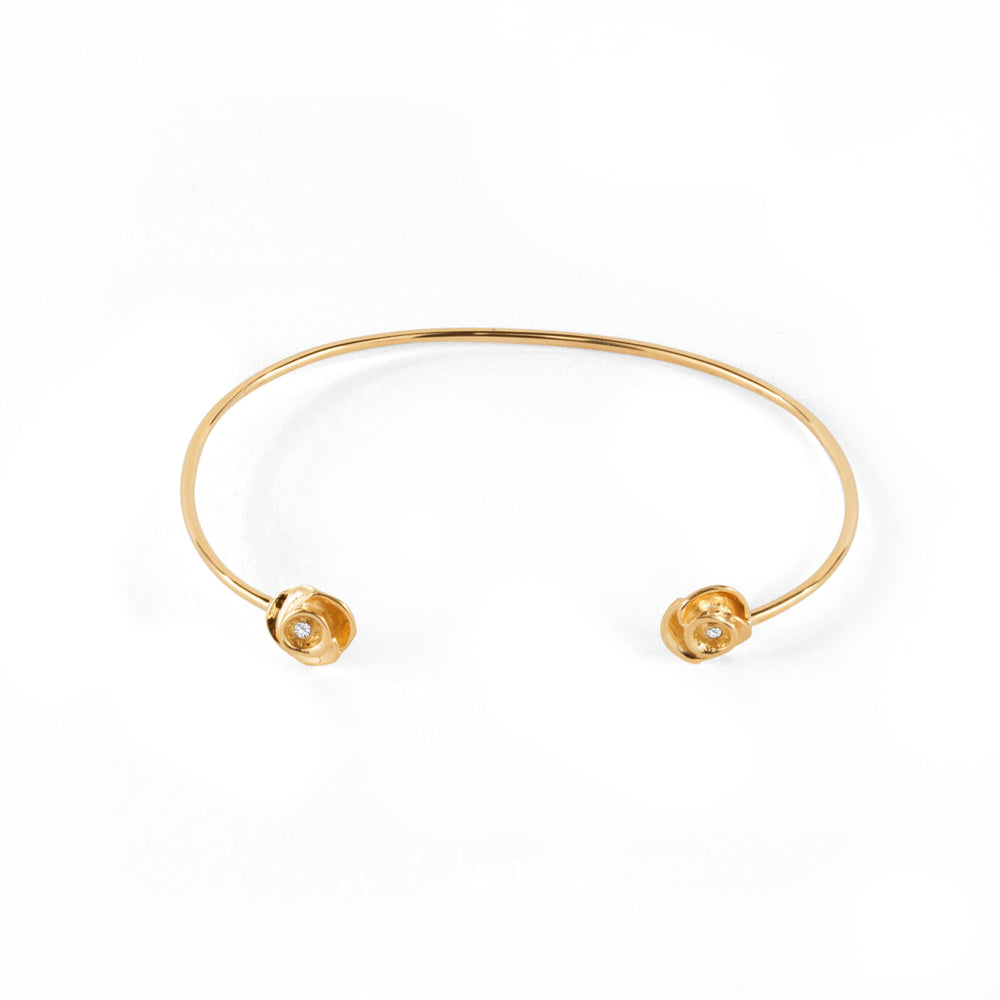 WD51 14kt gold Rose with diamond in middle cuff bracelet