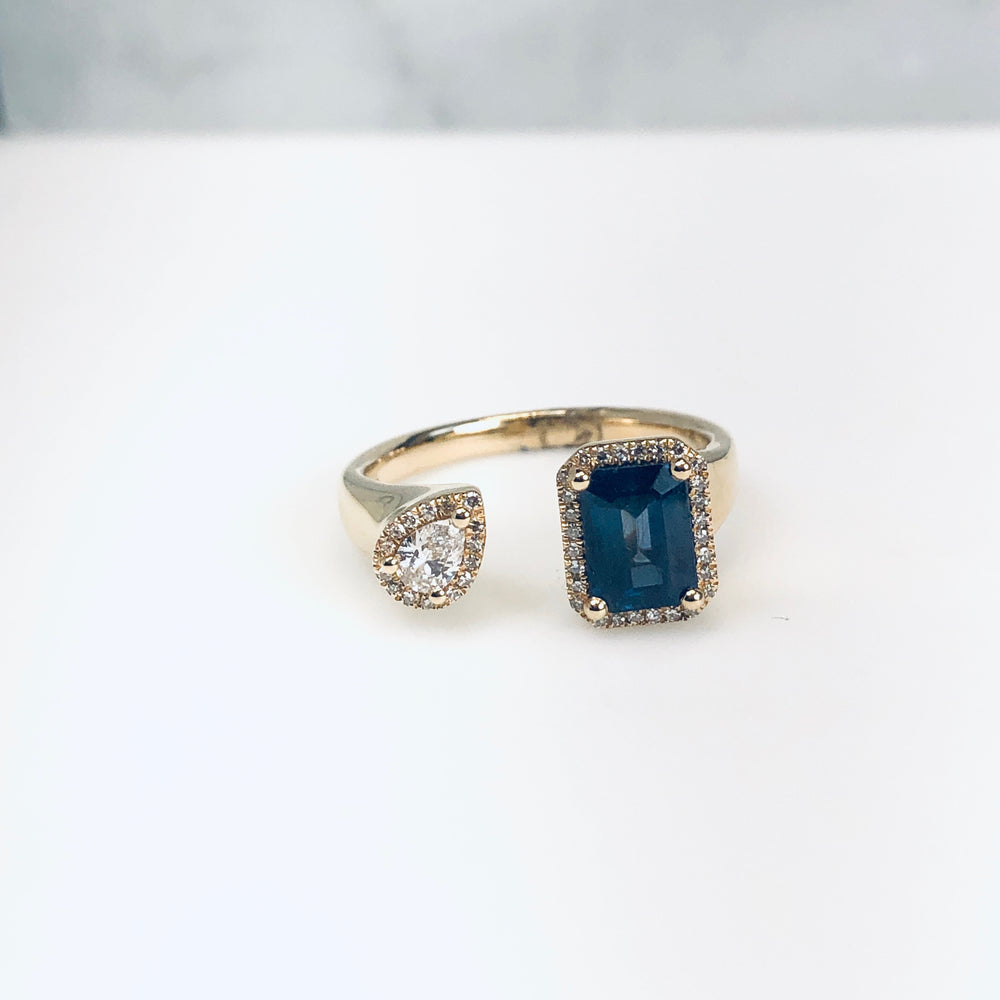 WD674 14kt Sapphire and Diamond Cuff Ring