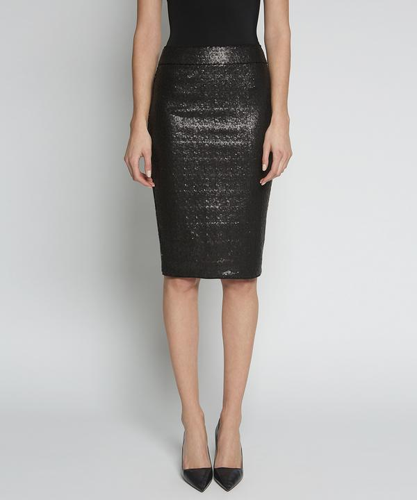 F1441 Avenue Montaigne Pull on Sequins Skirt