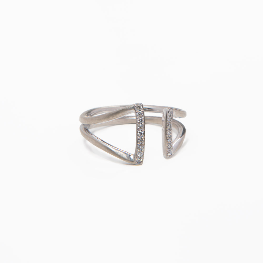 Gold and Diamond Double Stick Ring