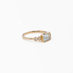 wd483, 14kt gold 1ct aquamarine .15ct of diamond ring