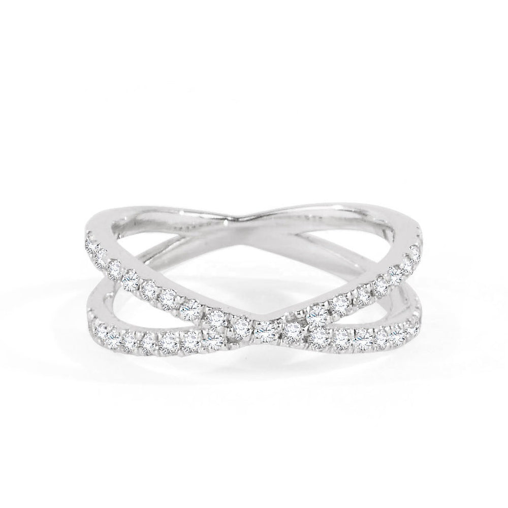 Diamond Kiss Ring Double