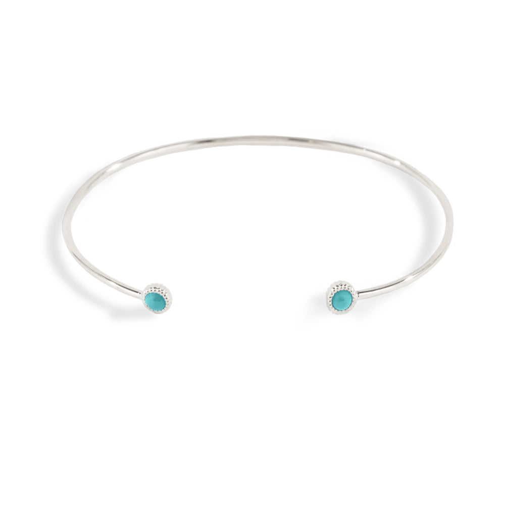 WD139-T,14kt gold thin flexiable cuff with a 3mm bezeled turquoise detail on each end