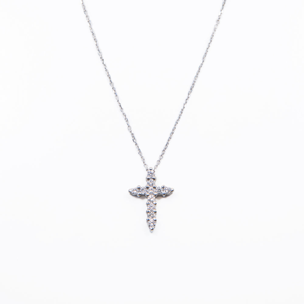 Wd352, 14kt gold shared prong cross. Diamonds are approx .42ct diamond 16inch chain