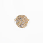 Curved Pave Diamond Disk Ring