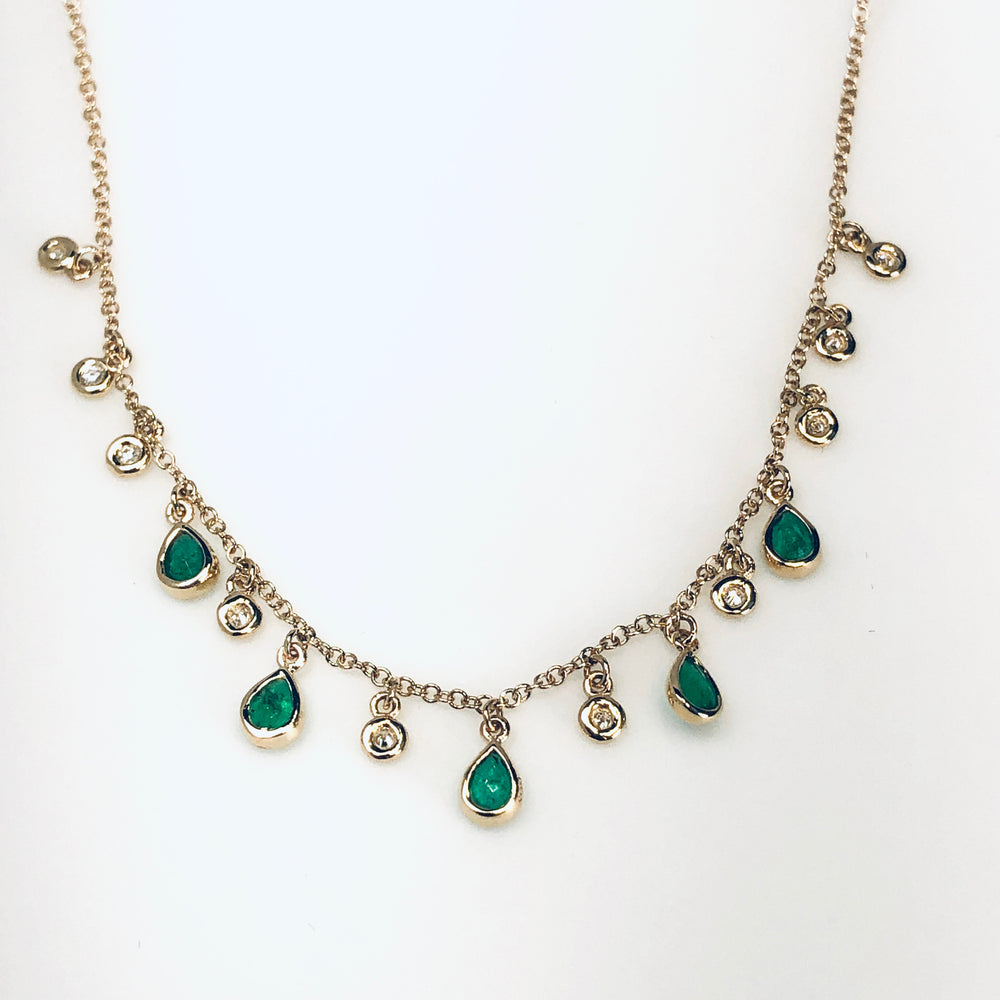WD633 Diamond and Emerald Multi drop Necklace