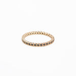 WD223, 14kt gold tiny bezel eternity band with black diamonds ring,