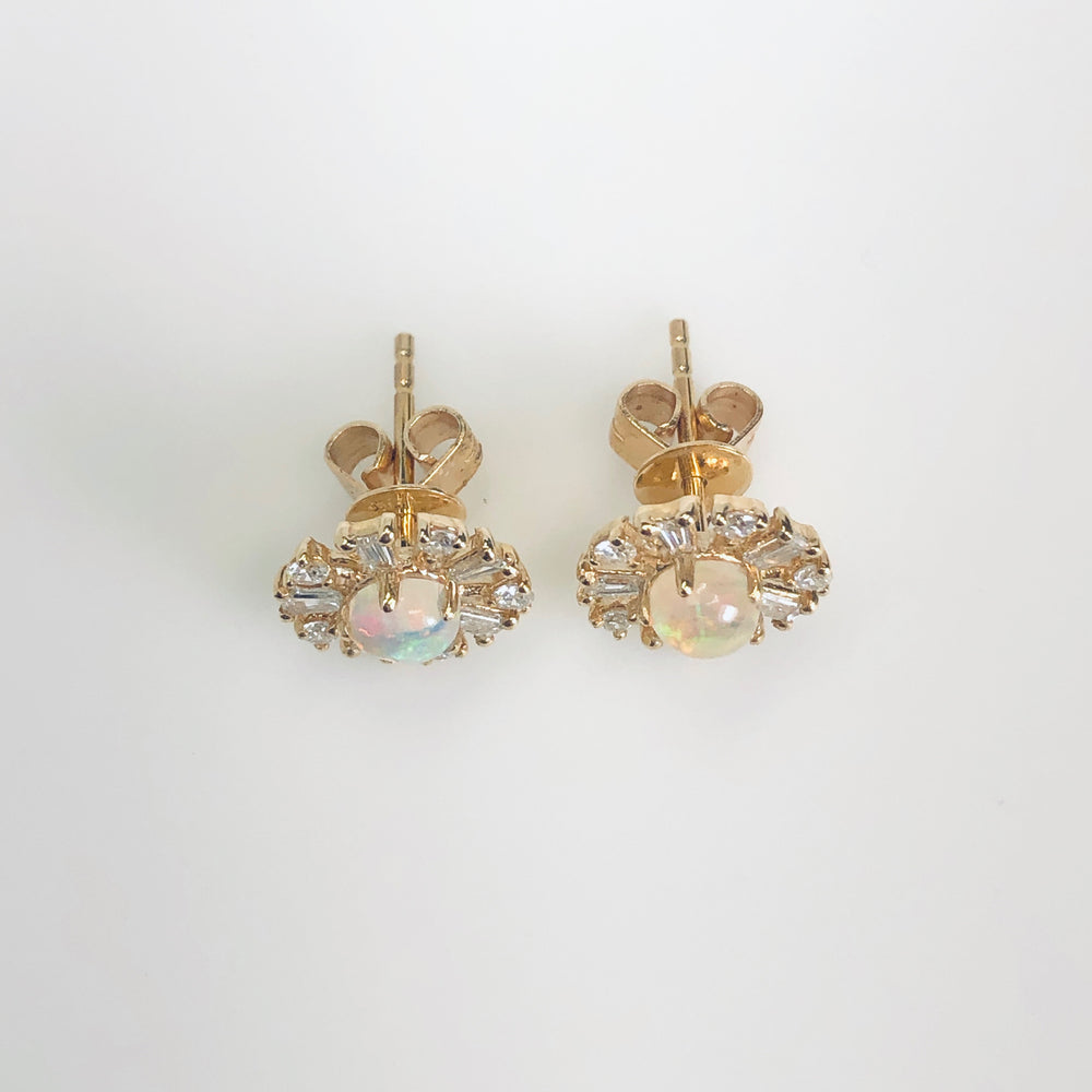 WD576 - Opal and Diamond Halo Studs