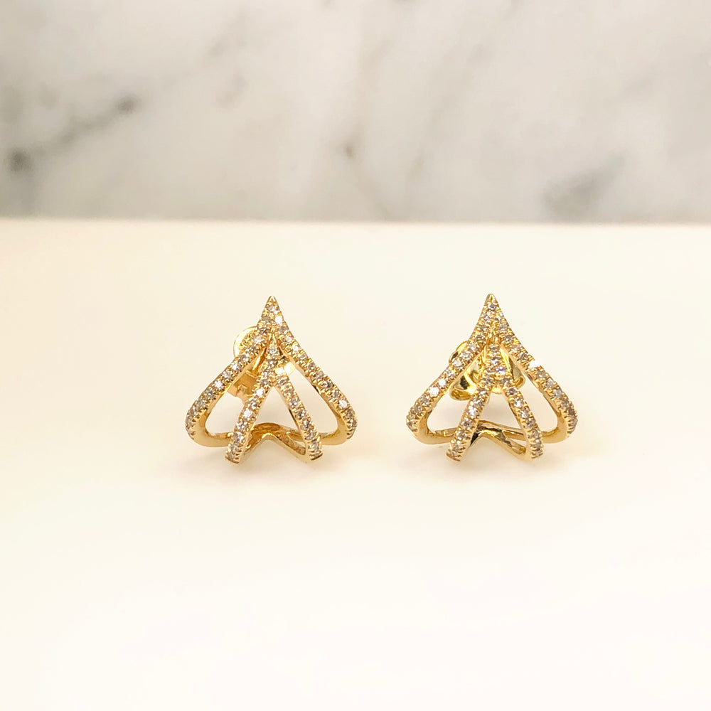 WD648 14kt gold Pave diamond lines that cup bottom of earring. What is there not to LOVE