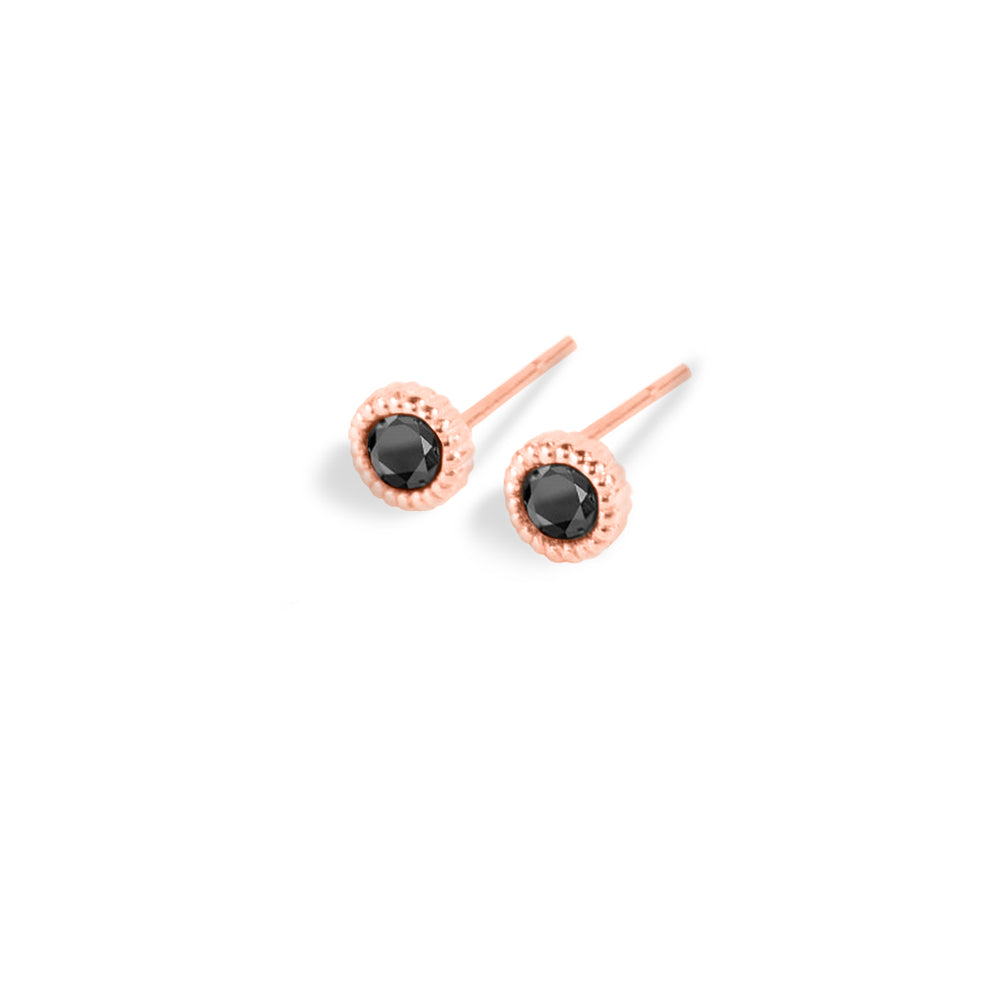 WD138-B, 14kt gold .20ct (pair) black diamond stud earrings