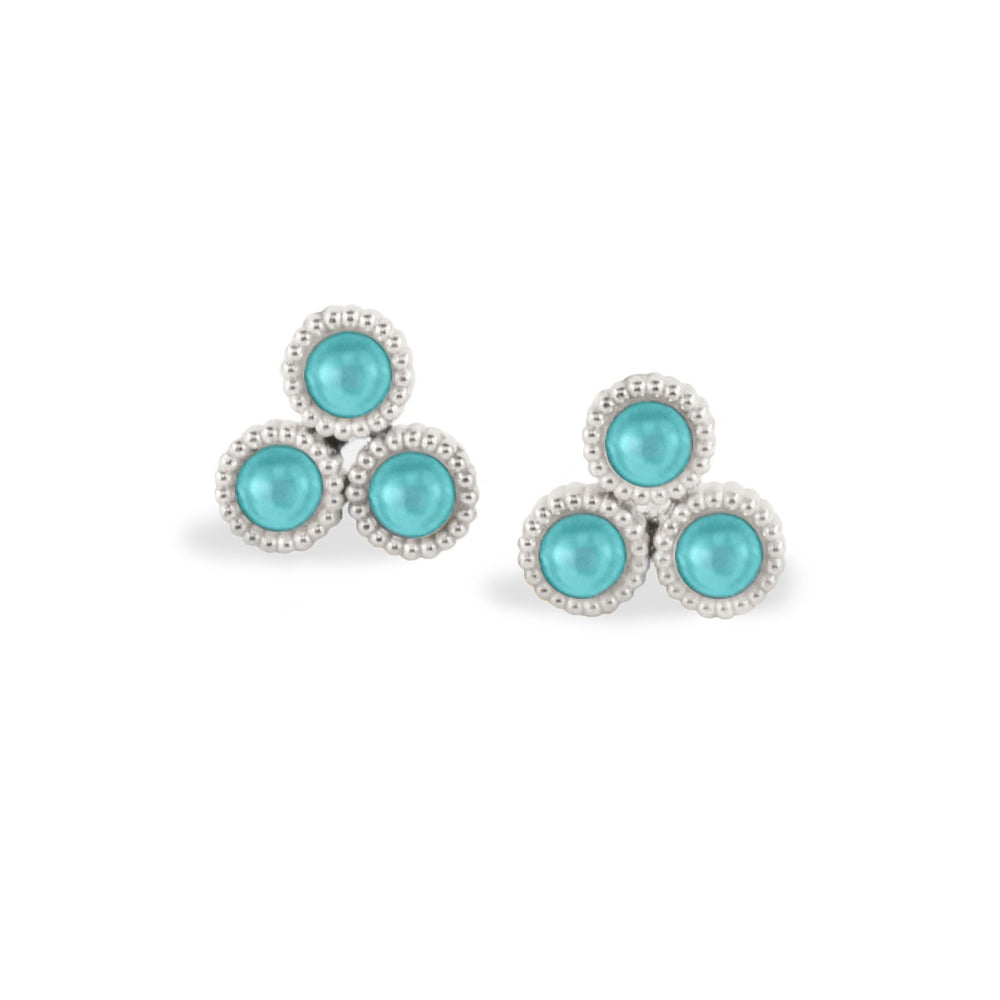 WD134-T, 14kt gold, 3, 3 turquoise stud earrings