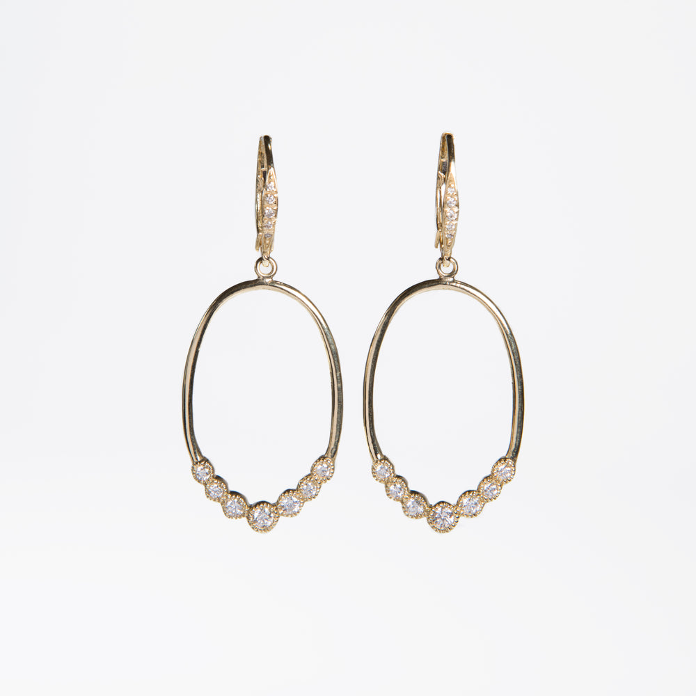 WD260, Oval loop with 7 bezel diamond drop earrings, 14kt gold, oval hoops with 7 diamonds of approx .40ct total diamond