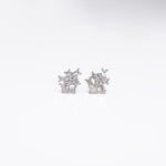 WD448, 14kt gold, 7 baquette stud earrings