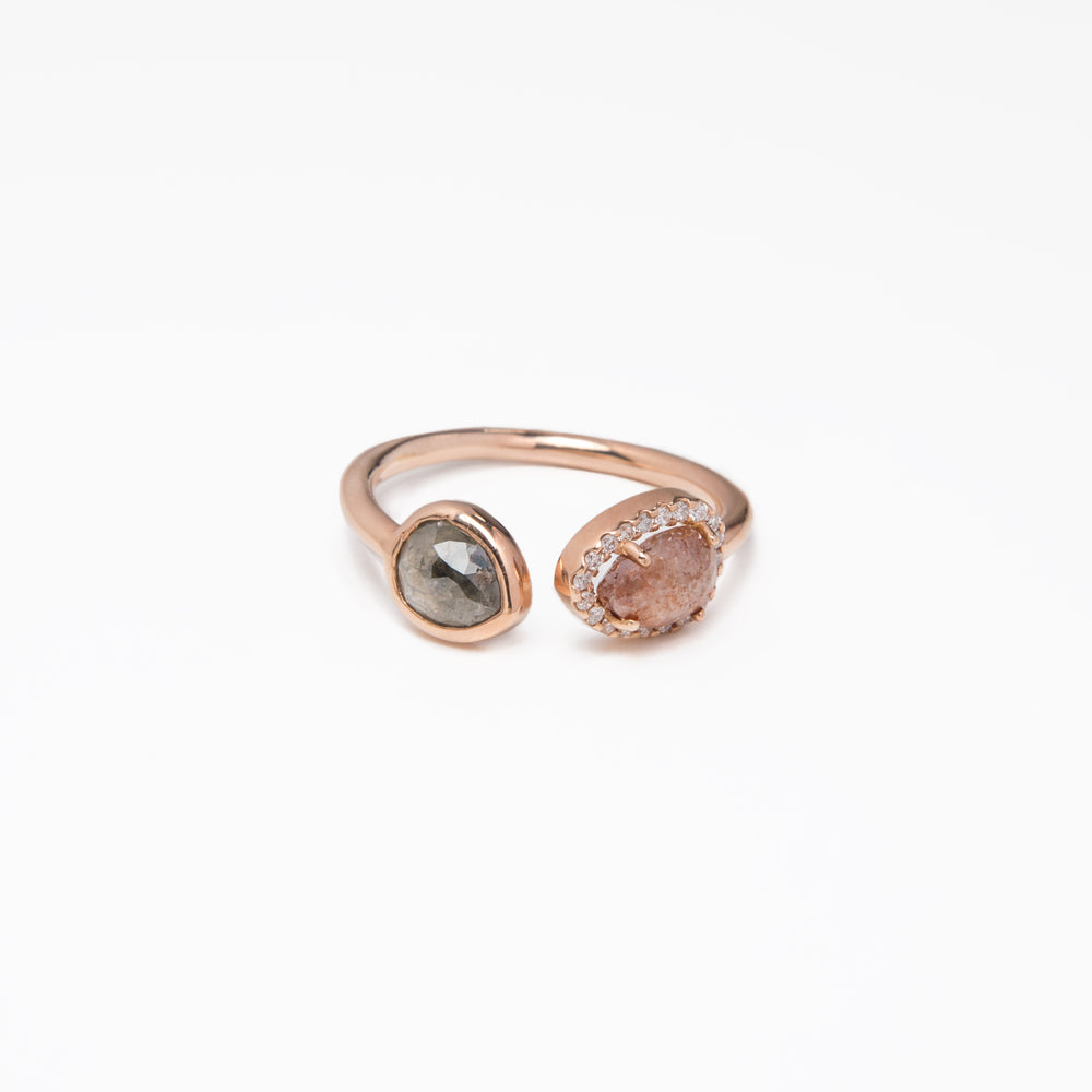 WD333, 14k Rose gold, cuff ring with 2 Pear shaped Rose cut Raw diamond totaling  approx 1.89ct, Pave halo .10ct diamond ring