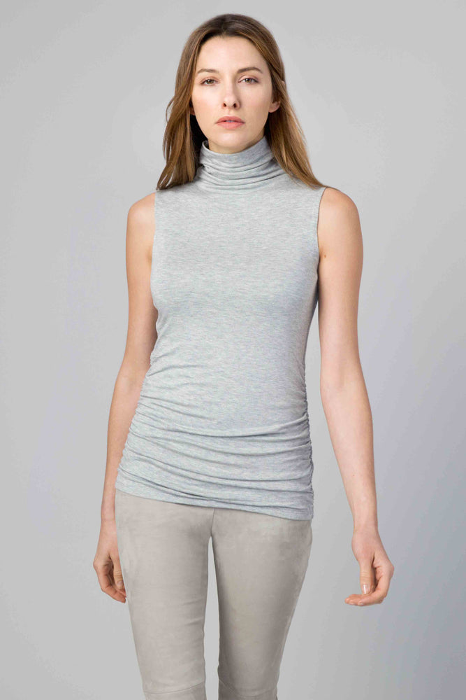 LFTR0-218 KINROSS Ruched turtleneck sleeveless Top