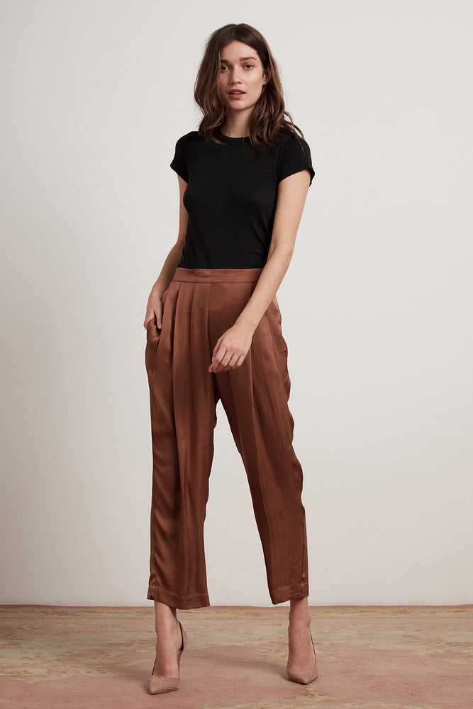 Hillary04 - VELVET HILLARY SATIN VISCOSE PLEATED PANT
