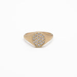 Wd86-PA, 14kt gold signet with .17ct pave diamonds-ring WD86-PA
