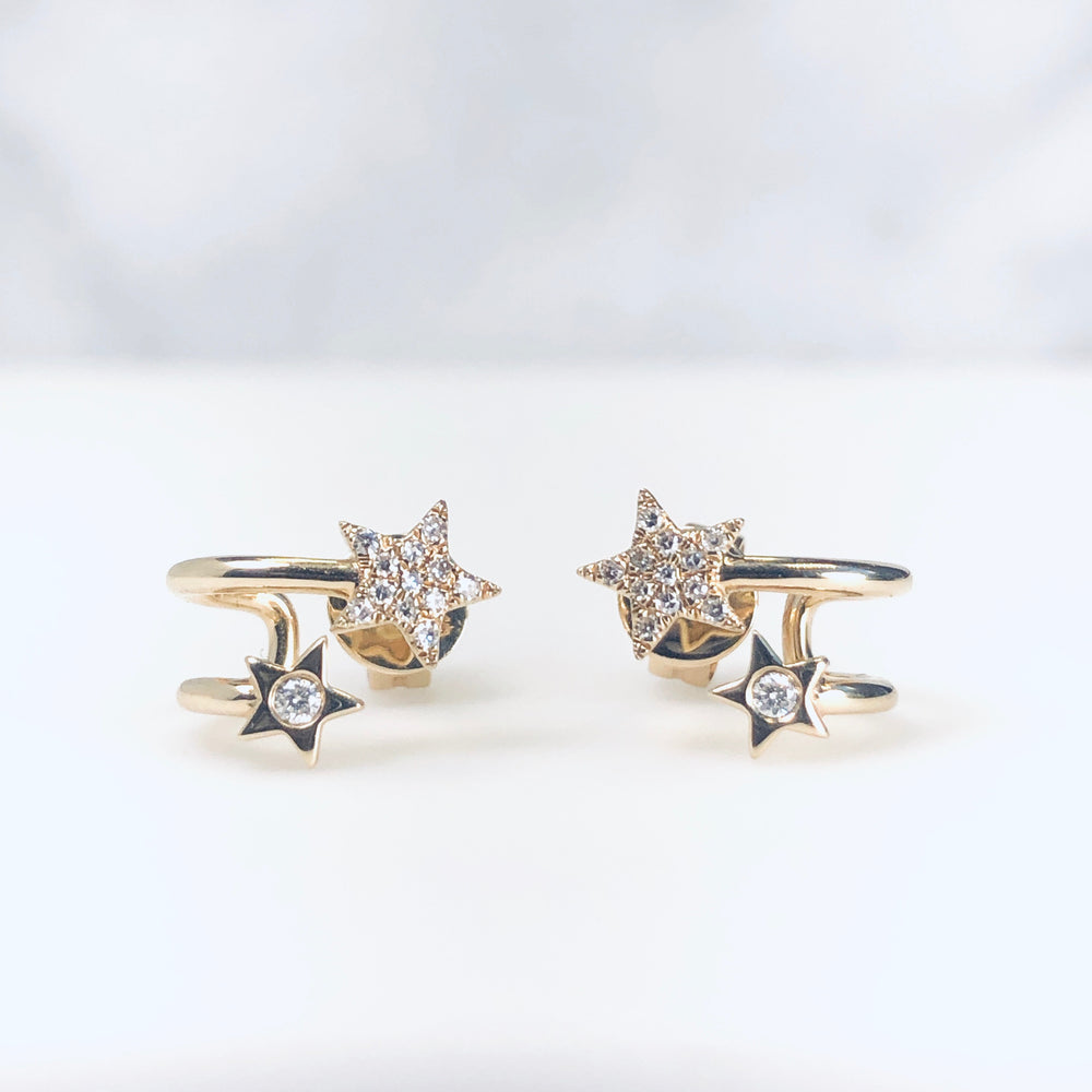 WD651 Double Star Cuff Earrings