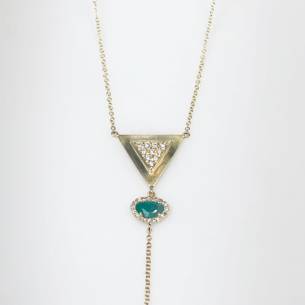 WD669 Raw Emerald and Diamond Lariat
