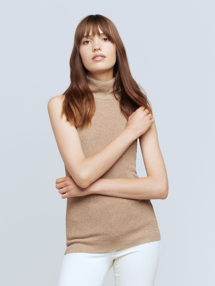 8531RKP L'AGENCE Sabrina Short Sleeve Turtleneck