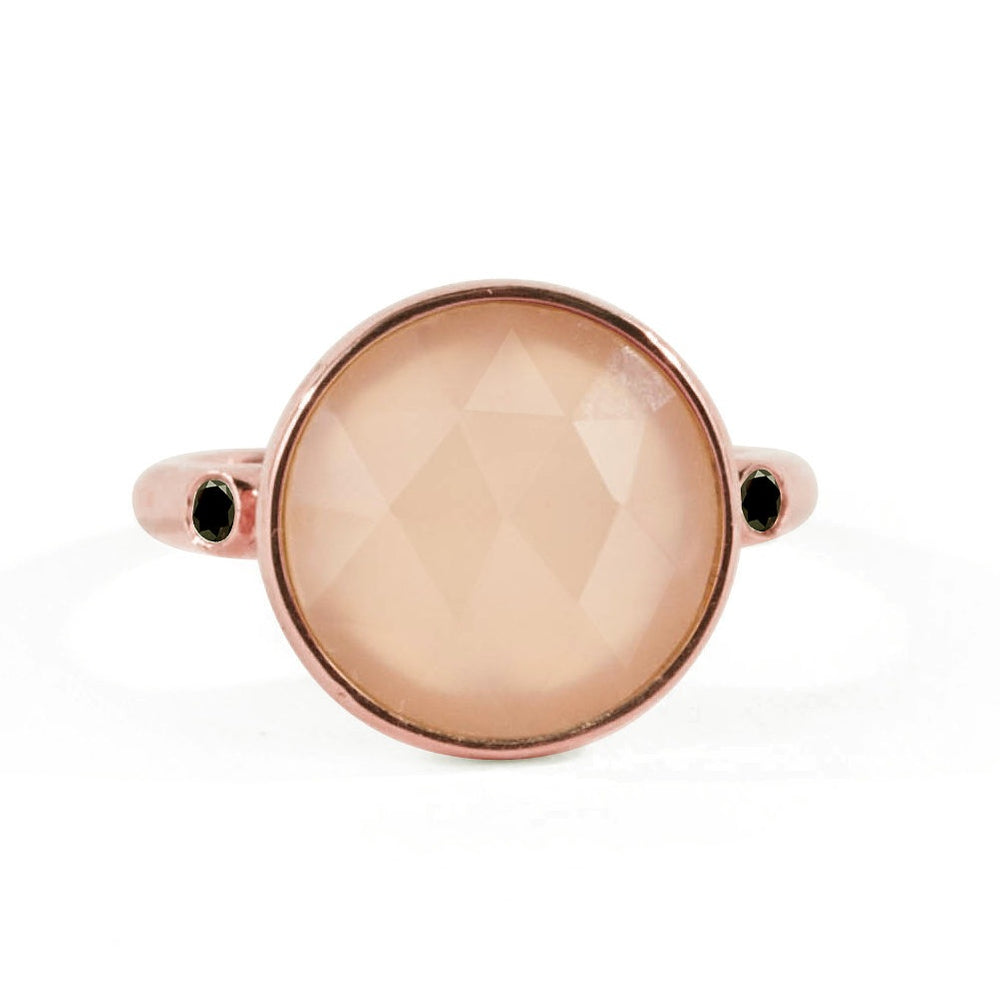 WD109-RQ, 14kt gold rose quartz with side diamond ring