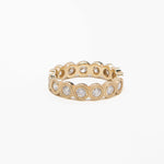 AD104, 14kt gold, approx 1.40ct diamonds,  4.5mm size double grain bezeled eternity band
