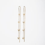WD480, 14kt gold, Pave set diamond triangles drop thread earrings