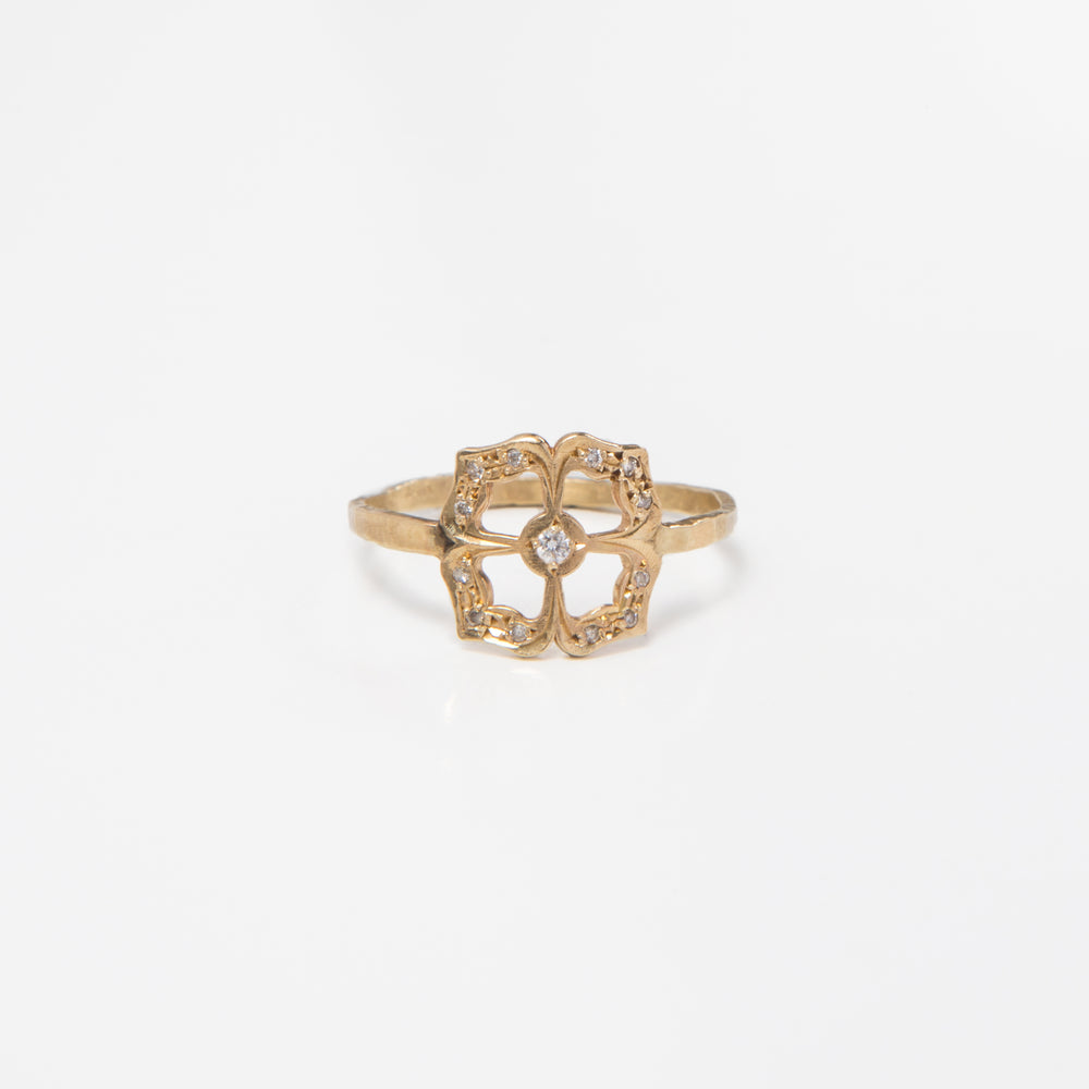 Diamond Clover Flower Ring