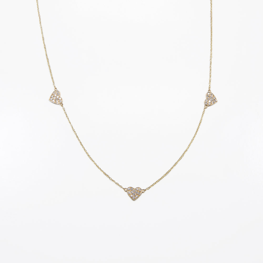 3 Pave Diamond Heart Necklace