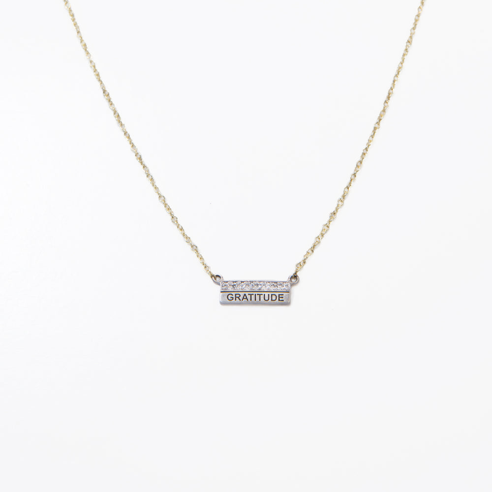 Laser Engraved Pave Bar Necklace