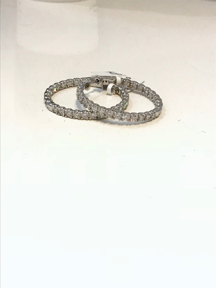 Diamond Hoop Earrings- Large