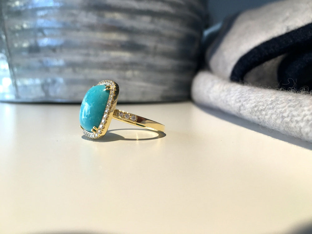 Sleeping Beauty Turquoise and Diamond Ring in Yellow Gold