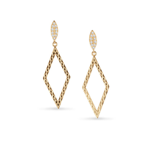 Diamond Shape Drop With Pave Stud