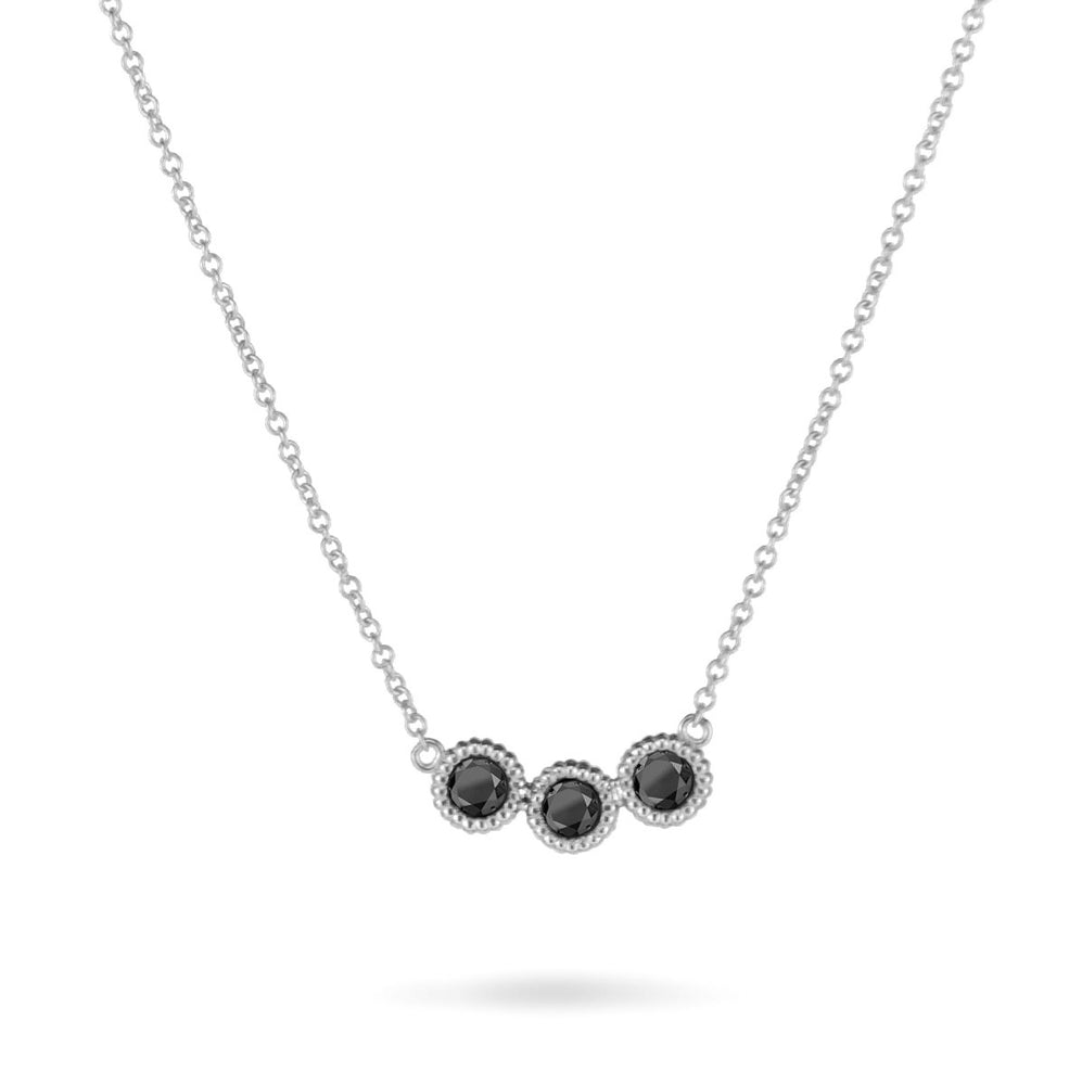 Sterling 3 Pebble Black Diamond Necklace