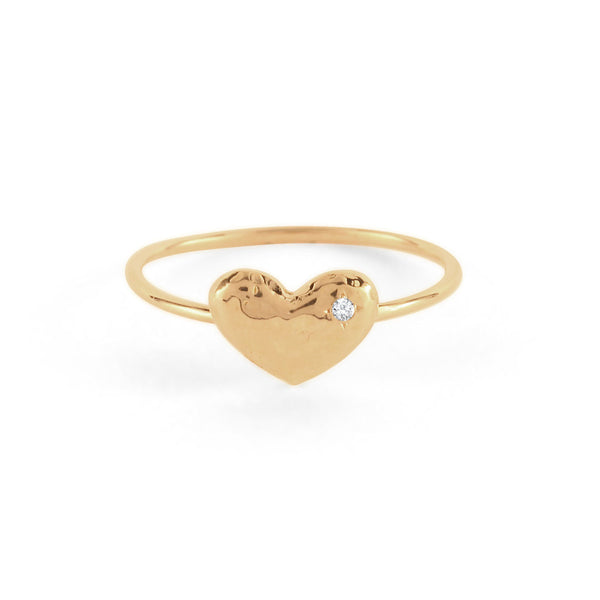 Hammered Puffy Heart Ring
