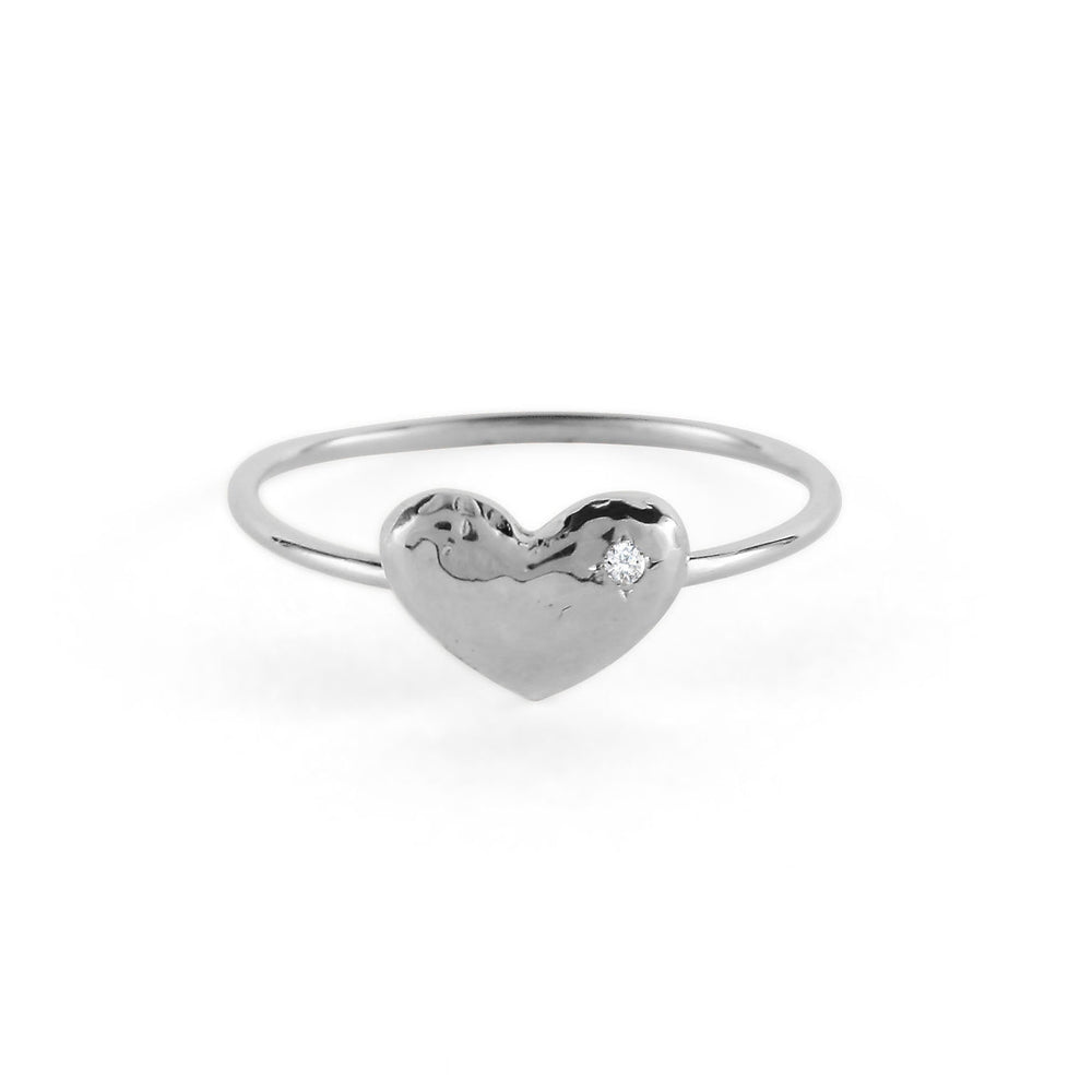Sterling Hammered Puffy Heart Ring