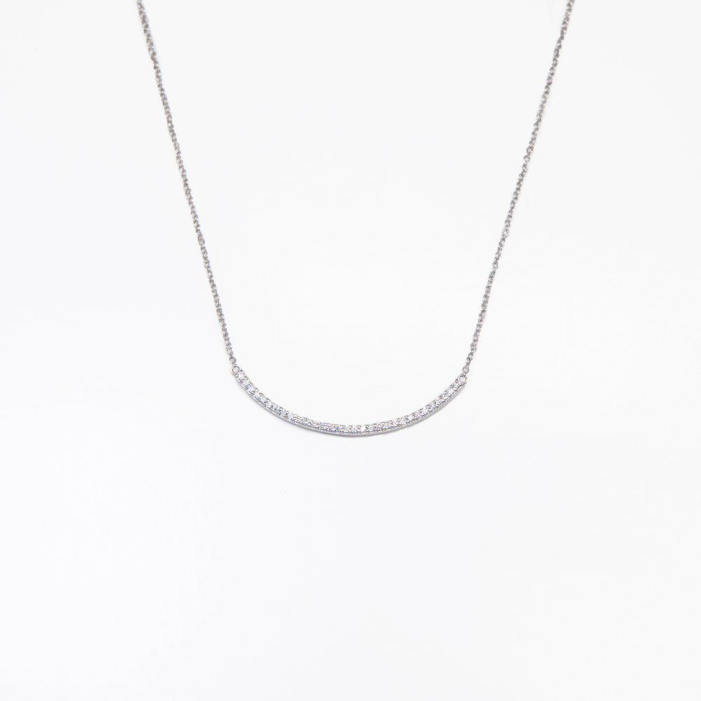 Curved Diamond Stick Necklace