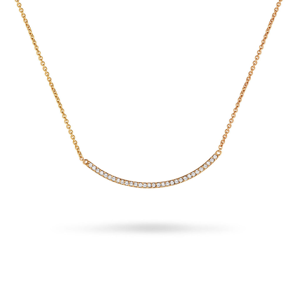 Large Diamond Hammered Curved Stick Necklace