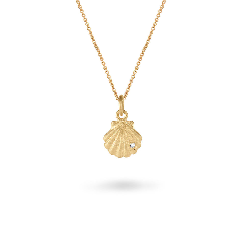 Clam Shell Pendant with Diamond