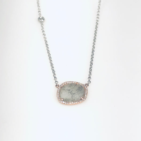 WD744 - 14kt Rose and White Gold Sliced Diamond with Pave Diamond Halo and Diamond Detail on Chain