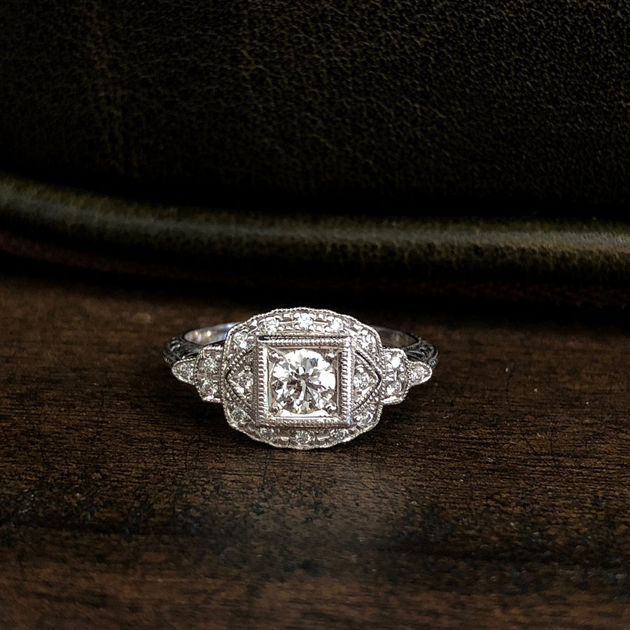 Hand Engraved 18kt Gold Diamond Ring A4965
