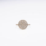 WD152, 14kt small .31ct pave diamond disk ring