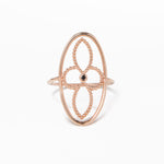 WD15 14kt gold 4 petal flower in oval ring