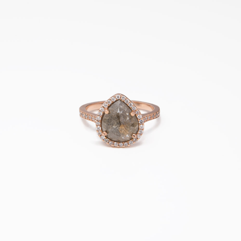 WD334 - 2.34ct Pear Shaped Rose cut Raw Diamond Ring