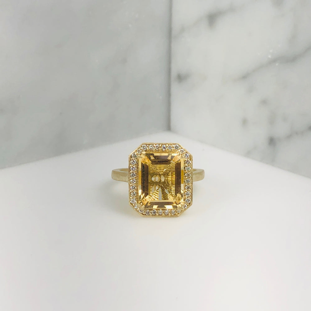 WD641 14kt gold, emerald cut citrine with pave diamond halo ring